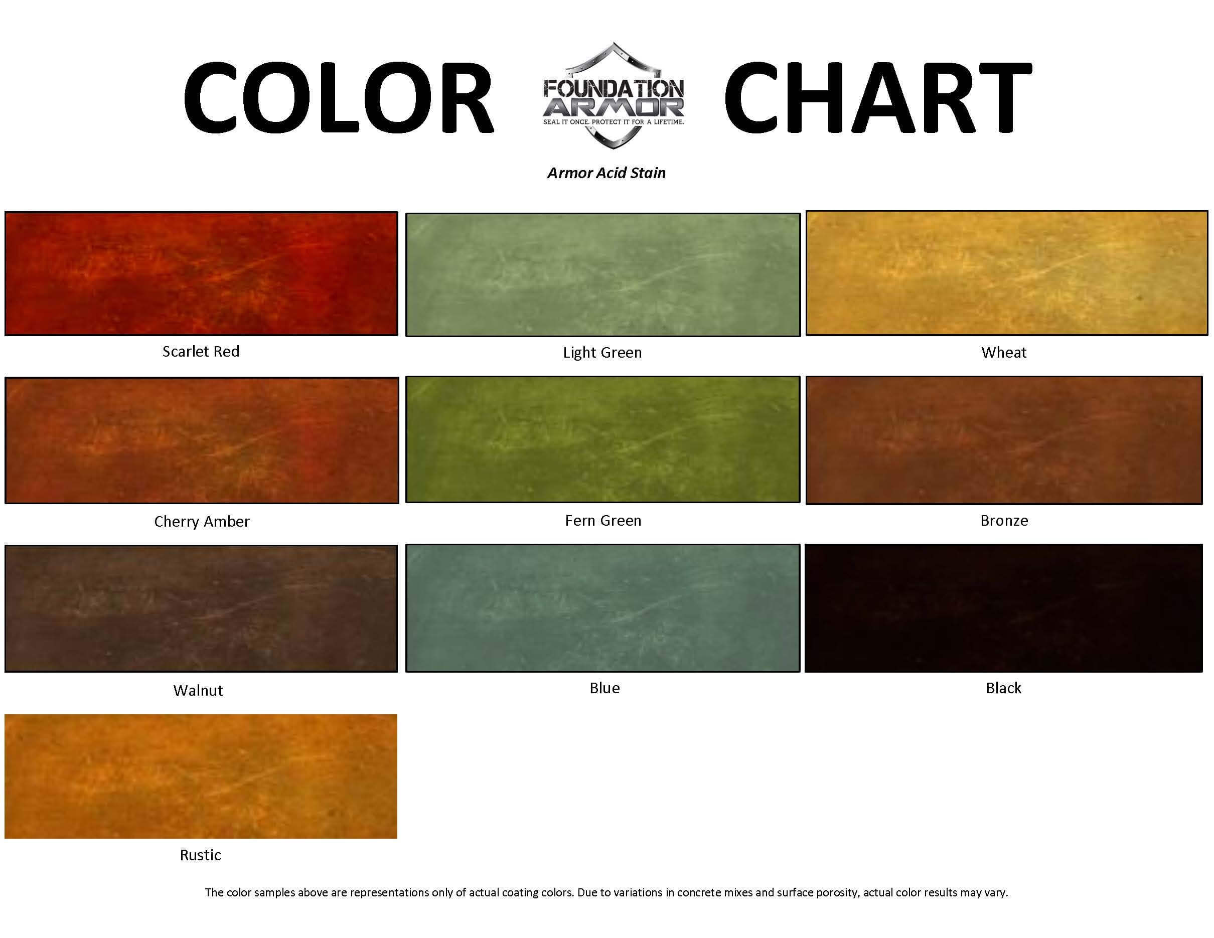 Concrete acid stain for acid stained concrete armor acid stain color chart nvjuhfo Image collections