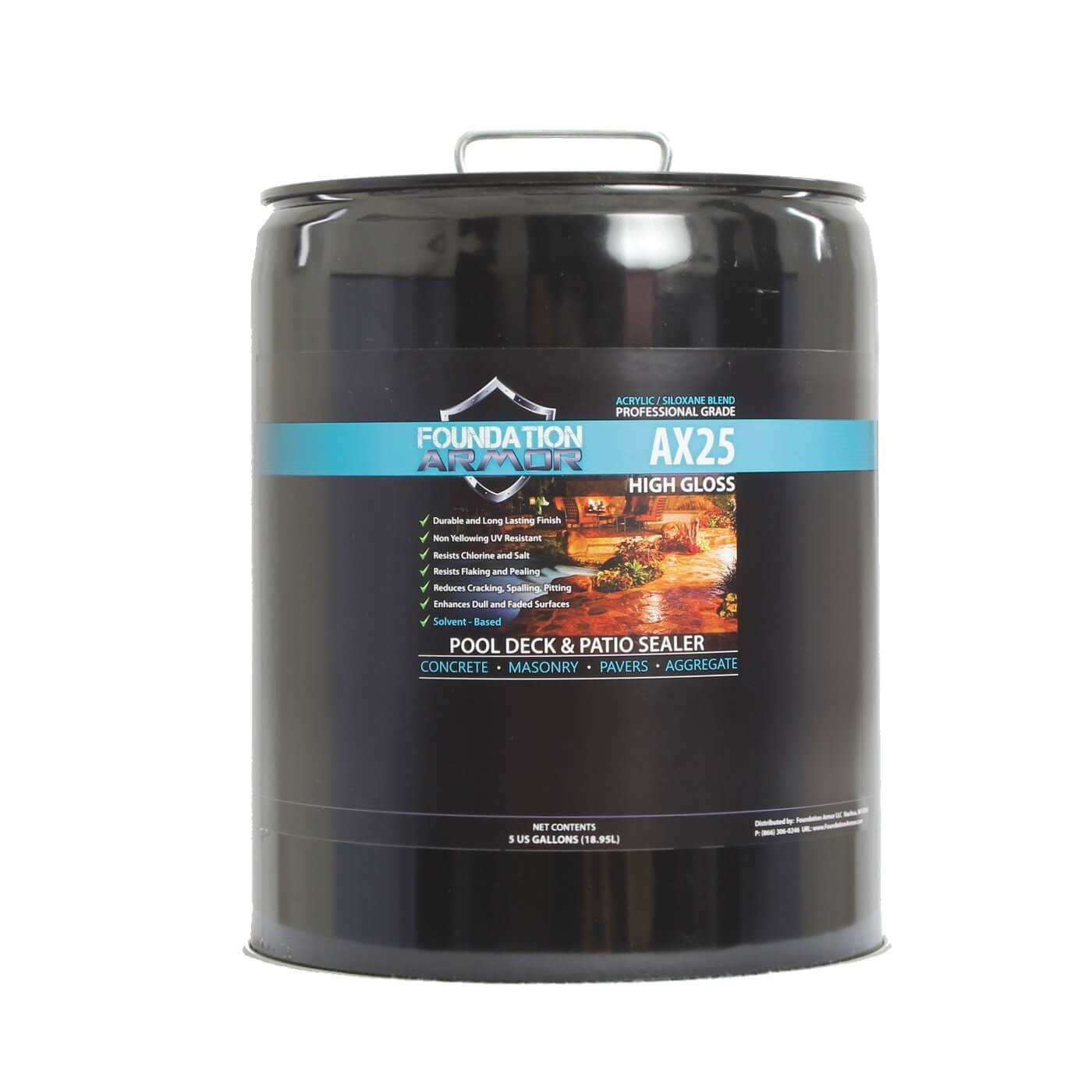 Sealing exposed aggregate pool deck - Ax25 Siloxane Infused High Gloss Acrylic 5 Gal