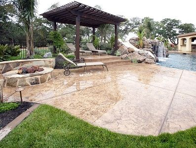 Sealed Stamped Concrete Pool Deck