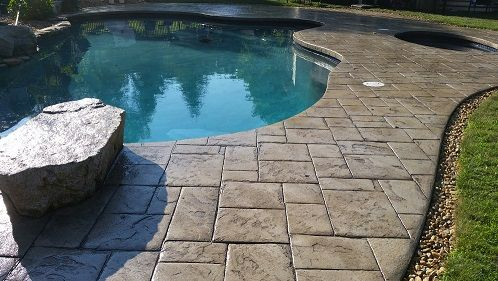 Stamped Concrete Pool Deck Sealed with AR350